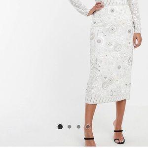 NWT ASOS Embellished White V Top Skirt 4
